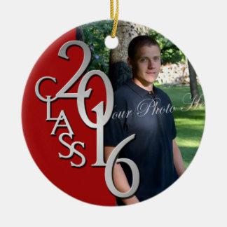 Red Class of 2016 Graduate Photo Round Ceramic Decoration