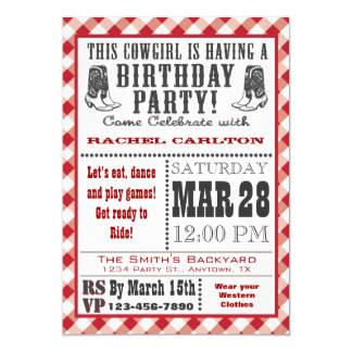 Red Cowgirl Birthday Invitation