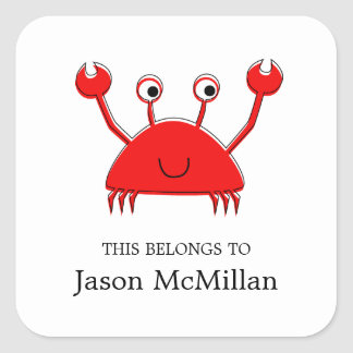 Red Crab Bookplates |  I.D. Labels Square Sticker