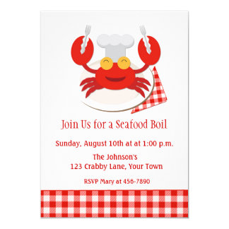 Red Crab Seafood Boil 13 Cm X 18 Cm Invitation Card