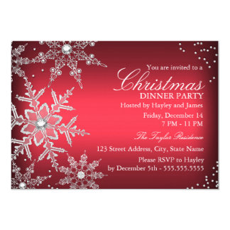 Red Crystal Snowflake Christmas Dinner Party 13 Cm X 18 Cm Invitation Card