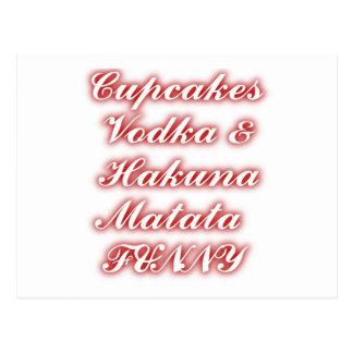 Red Cupcakes Vodka  Hakuna Matata FUNNY. Postcard
