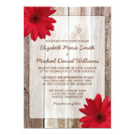 Red Daisy Rustic Barn Wood Wedding 13 Cm X 18 Cm Invitation Card