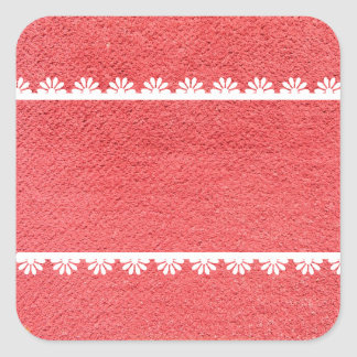 Red Fabric Texture with White Lace Square Sticker