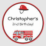 Red Fire Engine and Hat Birthday Stickers