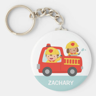 Red Fire Truck with Fire fighter Boy and Puppy Basic Round Button Key Ring