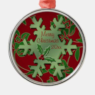 Red Floral and Green Snowflake Premium Ornament