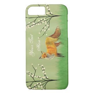 Red Fox Forest Trees Green iPhone 7 Case