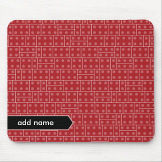 Red Geometric Building Block Pattern Mouse Pad