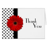 Red Gerber Black White Polka Dot Wedding Thank You Greeting Card