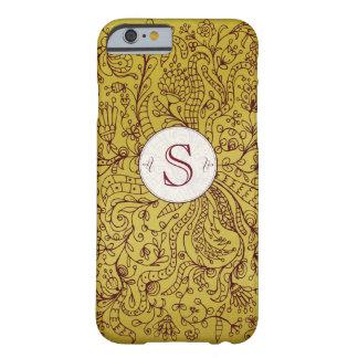 Red Gold Floral Art Custom Monogram iPhone 6 Case