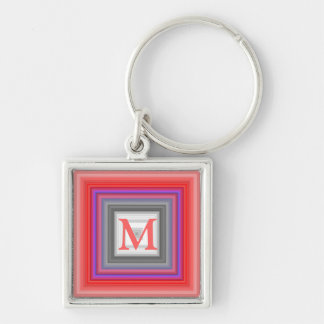 Red graphic initial keychain