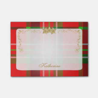 Red, Green Christmas Tartan & Stars Personalized Post-it® Notes