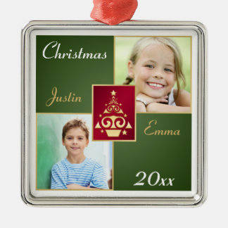 Red, Green, Gold Premium Christmas Photo Ornament