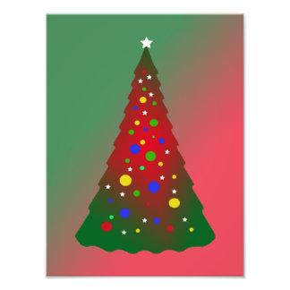 Red Green Merry Christmas Tree Art Photo