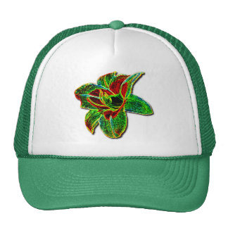 Red/Green Neon Daylily Cap