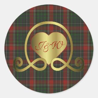 Red & Green Stuart Plaid Heart Wedding Sticker
