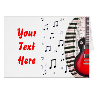 Red Guitar Piano Keys and Note Greeting Card