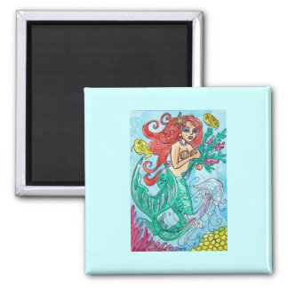 red haired mermaid with flowers square magnet