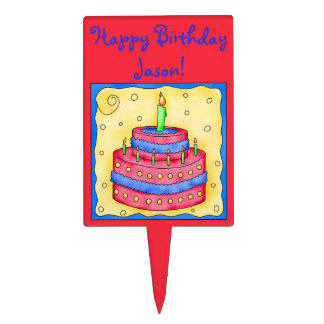 Red Happy Birthday Cake Topper