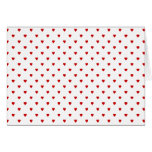 Red Hearts Pattern on a White Background. Note Card