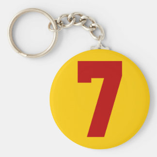 Red Jersey Number 7 Basic Round Button Key Ring