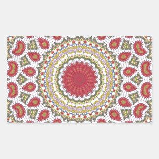 Red Jewels Mosaic Geometric Design Rectangular Sticker