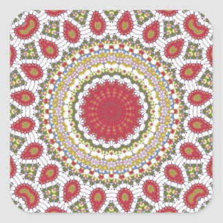 Red Jewels Mosaic Geometric Design Square Sticker