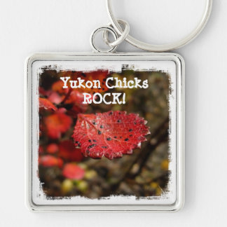 Red Leaf with Spots; Yukon Chicks ROCK Silver-Colored Square Key Ring