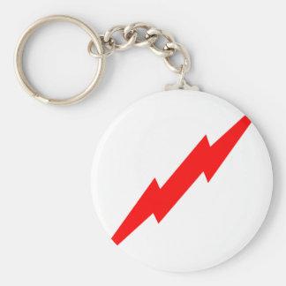 Red Lightning Basic Round Button Key Ring