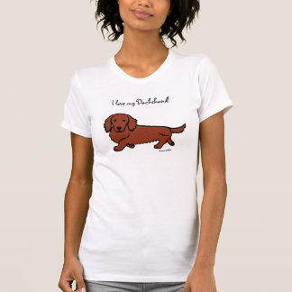 Red Long Haired Dachshund 2 Tshirt