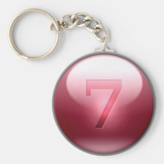 Red Lucky 7 Basic Round Button Key Ring