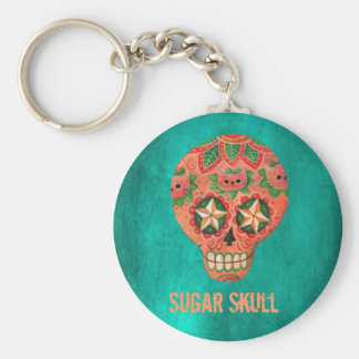 Red Mexican Sugar Skull Basic Round Button Key Ring