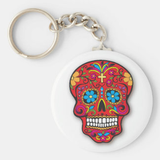 Red Mexican Sugar Skull Day of the Dead Basic Round Button Key Ring