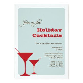 Red mint Christmas holiday cocktail martini retro 13 Cm X 18 Cm Invitation Card