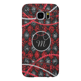 Red Monogram, Lace with Beads Samsung Galaxy S6 Cases