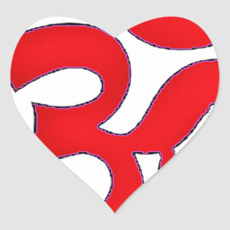 Red OM,AUM, SANSKRIT, MANTRA, TANTRA, YOGA Heart Sticker