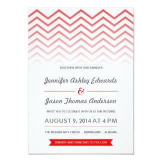 Red Ombre Chevron Wedding Invitations