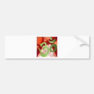 Red-Orange-Bg_Green-Om Bumper Sticker