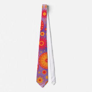 Red Orange & Purple Hippy Flower Pattern Tie