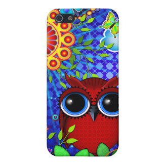 Red Owl and Flowers Art iPhone case iPhone 5/5S Covers