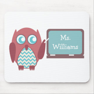 Red Owl Blue Chevron Teacher At Chalkboard Mouse Pad