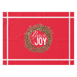 Red Peace Joy Pussy Willow Wreath Tablecloth
