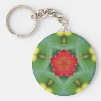 Red Pentagon Flower Basic Round Button Key Ring