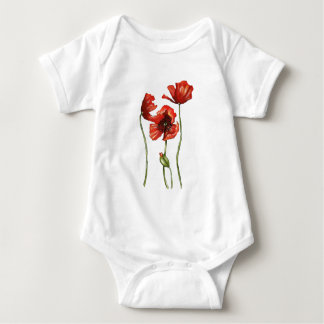 Red Poppies Floral Design Shirt
