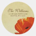 Red Poppy Flower Blossom Address Label Round Sticker