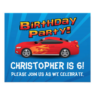 Red Race Car Flames Boys Birthday Party Invitation 11.5 Cm X 14 Cm Flyer