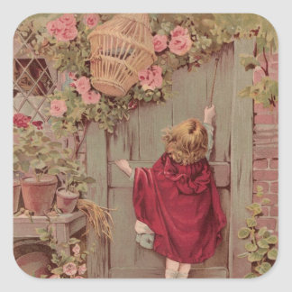 Red Riding Hood Knocks on the Door Square Sticker