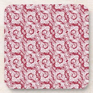 Red Rococo Cork Coaster