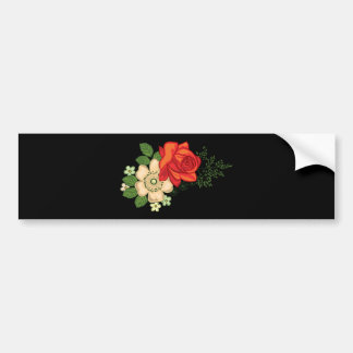 Red Rose and Daisies Black Background Bumper Sticker